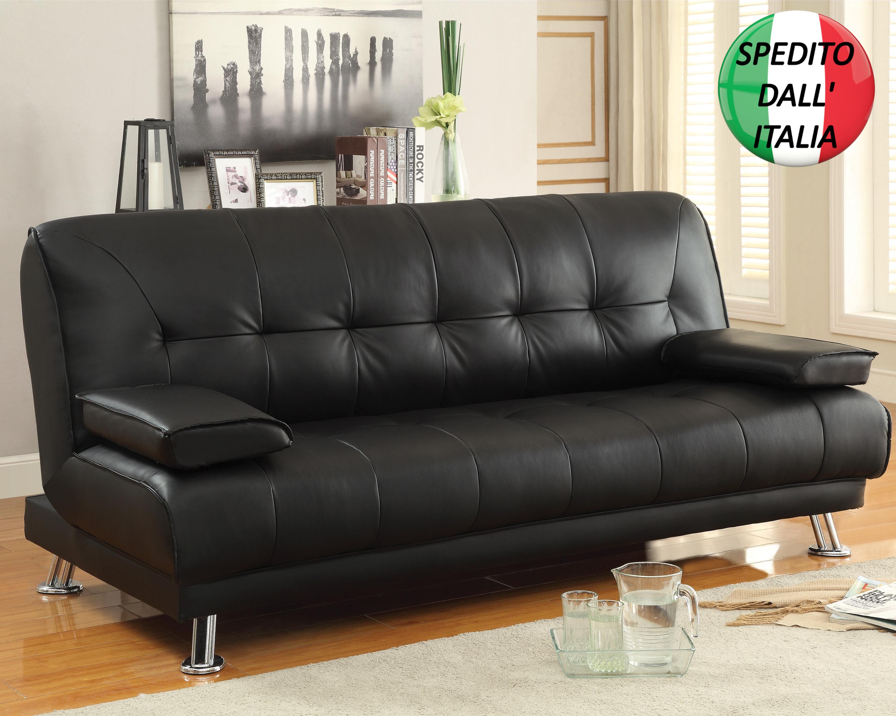 Divano letto in ecopelle similpelle tessuto reclinabile 2 for Divano letto 3 posti